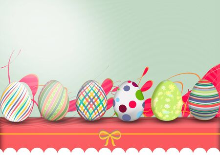 row of eggs, painted with brushstrokes and drawing funds. space for text. illustration Illustration