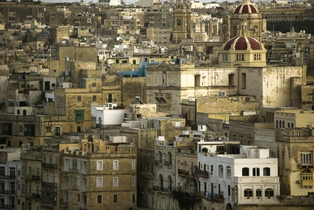 view of the old town of Sliema, Malta. Mediterraneo