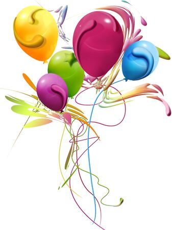 Party Baloons, bouquet of balloons and decorations, vertical illustration
