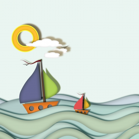 Two boats on waves of blue sea water, relief and 2d, blue sky, sun and clouds