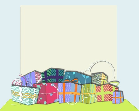 horizontal position: illustration, gift boxes, surprises in rows stacked on green base. horizontal position Stock Photo