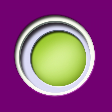 window hole: 2d Design, purple and green colored paper, with a hole and white circular window  illustration Illustration