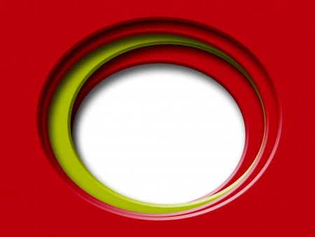 window hole: Illustration, oval hole, red image and green accents, white window Illustration