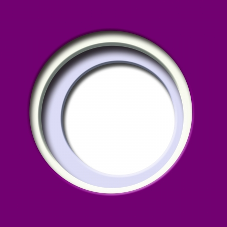 window hole: 2d Design, purple colored paper, with a hole and white circular window  illustration Stock Photo