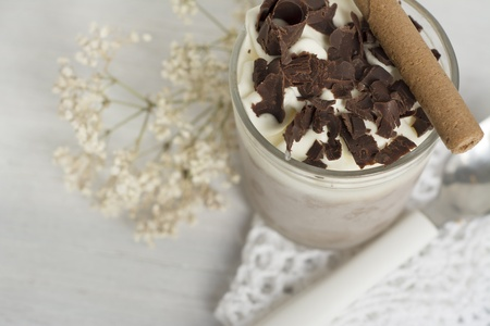 Delicious dessert, chocolate and whipped cream, very cold, decorate with chocolate curls, photo