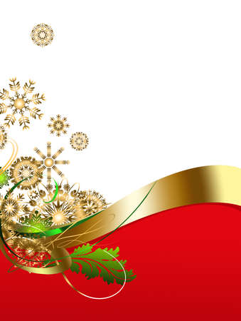 Illustration of Christmas, white and red space for text, decorated with curved boundary, gold stars and christmas decorations, vertical image illustration