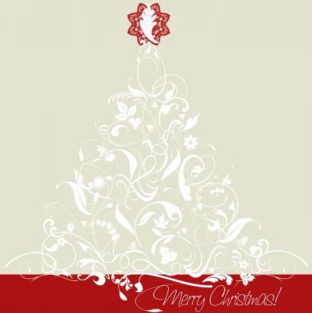 lunares rojos: Ilustración, árbol de navidad, con arabescos, las hojas y los adornos, atractiva estrella roja, rojo y colores grises Forma Square