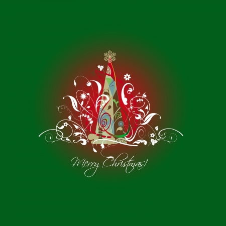 flex: Illustration, Christmas tree, with arabesques, leaves and ornaments, gold star attractive, green and red center