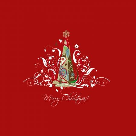 lunares rojos: Ilustración, árbol de navidad, con arabescos, las hojas y los adornos, atractiva estrella de oro, rojo cuadrado Foto de archivo