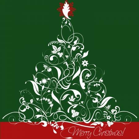 lunares rojos: Ilustración, árbol de navidad, con arabescos, las hojas y los adornos, atractiva estrella de oro, verde cuadrado