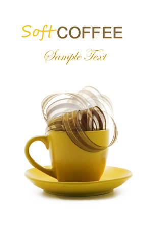 Coffee soft, yellow cup. Conceptual series. isolated photo