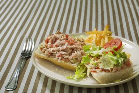 Tuna and tomato sandwich with fries garrison on tablecloth crumbs