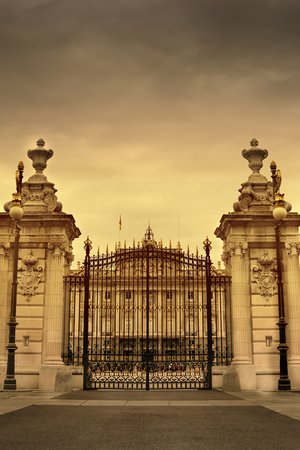 old wrought iron gate  entrance to the courtyard of the royal palace of madrid  Spain