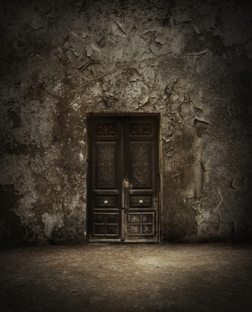 Mysterious closed door, Grunge and gloomy in environment photo