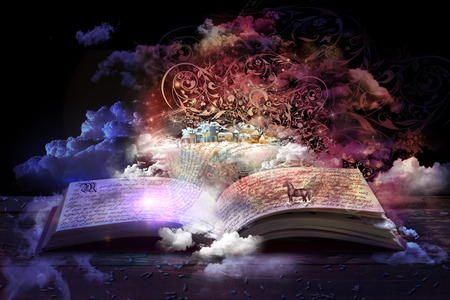 open magic book, stories and educational stories floating 免版税图像