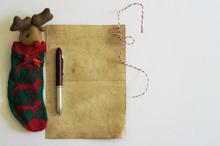 Christmas Letter, vintage paper, white background photo