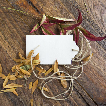 retailing: price tag label, on autumn wooden background, Stock Photo