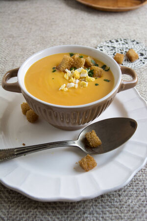 crouton: Creamy Pumpkin soup with crouton and egg