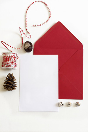 Red Envelope, Christmas letter, white background and ornaments photo