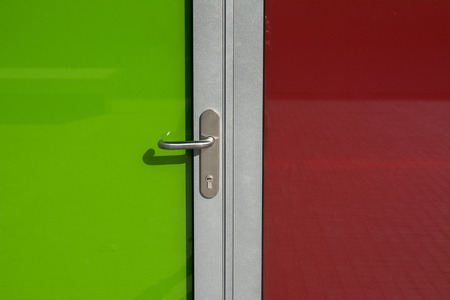 modern glass doors, two colors photo