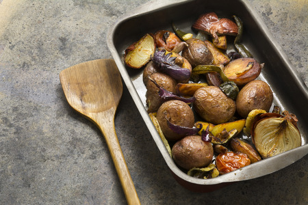 lunch tray: tray baked potatoes, and vegetables Stock Photo