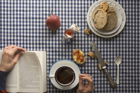 checkered tablecloth: woman having breakfast, his hands and a book, with bread and sweets on checkered tablecloth