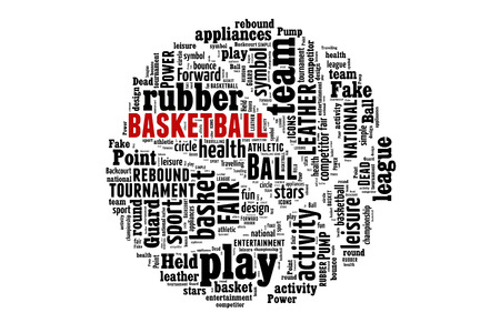 fair play: Basketball word cloud concept. illustration with text, black and white, red detail Stock Photo