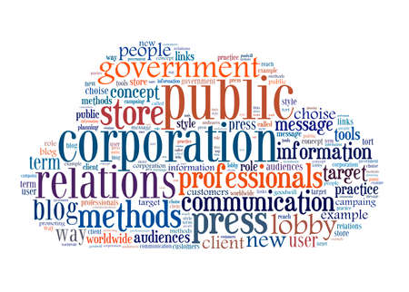 tort: Concept of public relations, Within a cloud words and tags Stock Photo