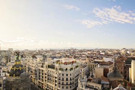 attics: The skyline of Madrid (Spain) from de CBA (Circulo de Bellas Artes) during the sunset