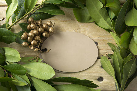 green frame: Card oval, branches and gold frame on wooden background detail