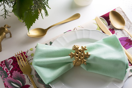 place setting: christmas place setting, card and aquamarine colors and gold Stock Photo