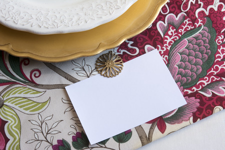 thanksgiving card: Thanksgiving Place Cards with editable type, on tablecloth with flowers and gold plate