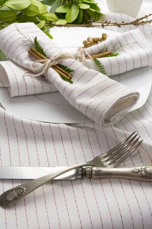 place setting: elegant place setting white and gold