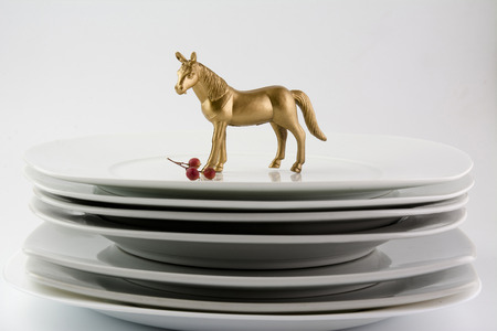 blanck: Dishes Plates stacked white and clean tableware and gold horse, conceptual food