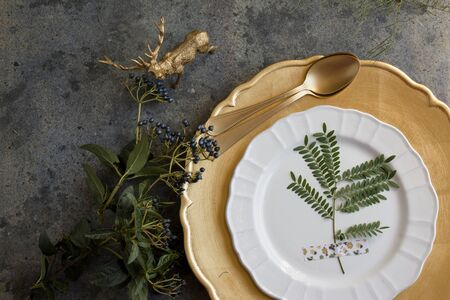 old new: Holiday Gold place setting, napkin brown plaid, on grunge background