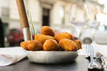 Spanish croquettes, breaded, and fried in olive oil.