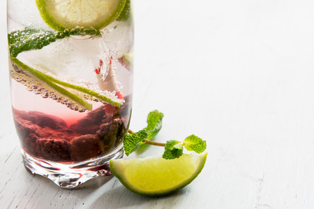 Gin tonic cocktail with lime, ice and red fruit, white background. Close up