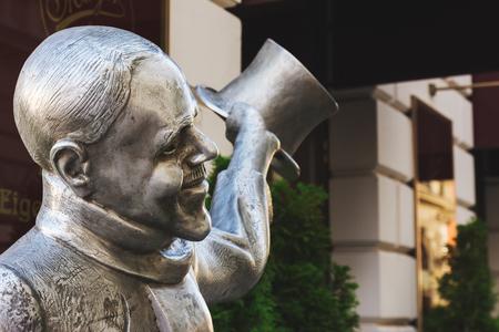 Bratislava, Slovakia, September 30, 2016: Statue Schone Nacl, Sedl???rska street, One of the many peculiar statues in the old city of Bratislava, Slovakia. - Editorial
