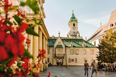 BRATISLAVA, SLOVAKIA: SEPTEMBER 30, 2016: Primate Palace at Primacialne namestie (Primate square) was built from 1778 to 1781 for Archbishop Jozsef Batthy. Apponyi palace, Bratislava City Museum (Muze