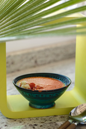 Spanish Gazpacho cold vegetable soup made of tomato, cucumber, bell pepper, onion, garlic and olive oil served in ceramic bowl .
