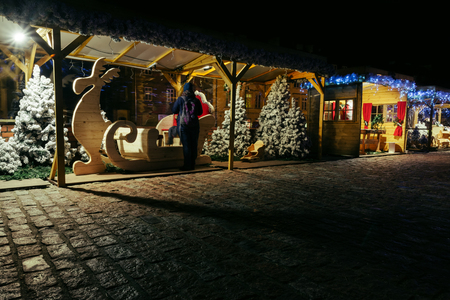 stands in the Christmas market, leisure and entertainment areas, in Warsaw, Poland