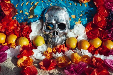 Human skull chromed, surrounded by paper flowers and fruits, Mexican altar