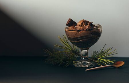 Festive dessert, Chocolate mousse in crystal glass and pine branch Stock Photo