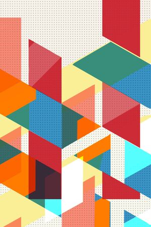 Colorful geometric Cover Swiss Modernism. cubes and triangles. Orange, turquoise blue and red texture. Abstract pattern Shapes Concept backgrounds for ads or prints, covers or posters, banners or cards. Linear, triangles and cubes elements. 写真素材