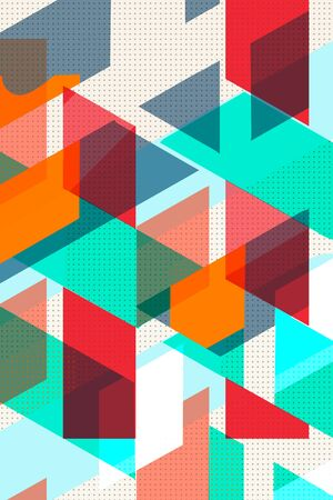 Colorful geometric Cover Swiss Modernism. Orange and turquoise red blue and orange texture. Abstract pattern Shapes Concept backgrounds for ads or prints, covers or posters, banners or cards. Linear, triangles and cubes elements.