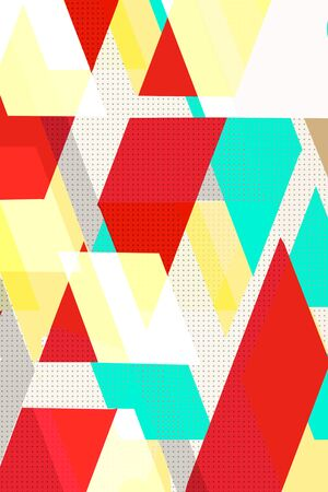 Colorful geometric Cover Swiss Modernism. Red and blue, yellow and violet texture, Abstract pattern Shapes Concept .backgrounds for ads or prints, covers or posters, banners or cards. Linear, triangles and cubes elements. 写真素材
