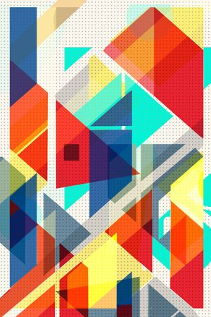 Colorful geometric Cover Swiss Modernism. cubes and triangles. Orange, blue yellow and red texture. Abstract pattern Shapes Concept backgrounds for ads or prints, covers or posters, banners or cards. Linear, triangles and cubes elements.