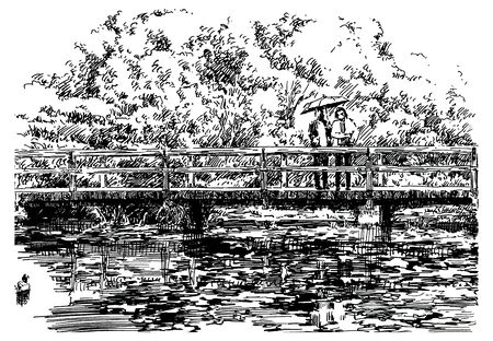 Bridge over the pond in the japanese garden. Black and white hand drawing with pen and ink. Engraving, etching, sketch style. Imagens