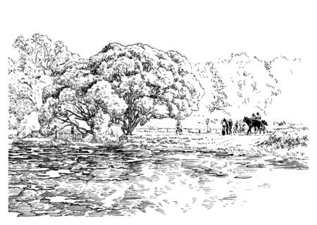 Trees and water in the garden. Black and white hand drawing with pen and ink. Engraving, etching, sketch style.
