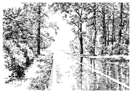 Summer rain garden scene with road, trees and grass. Black and white hand drawing with pen and ink. Engraving, etching, old sketch style. Imagens